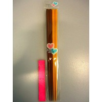 Chopsticks 2prs narrow natural wood 22.5cm