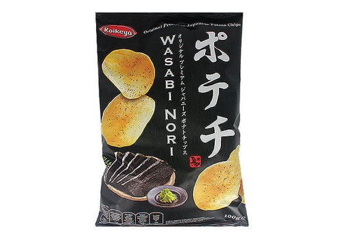 KOIKEYA POTATO CHIPS WASABI NORI - Chips met wasabi en nori zeewier smaak