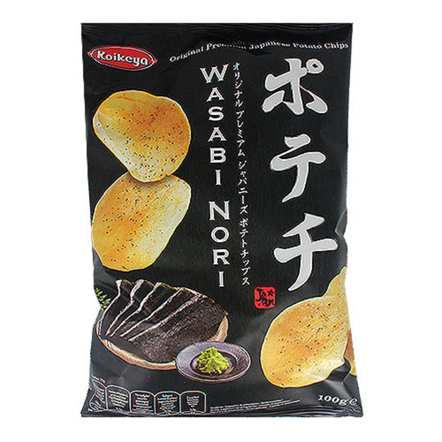 KOIKEYA POTATO CHIPS WASABI NORI - Chips met wasabi en nori zeewier smaak-1
