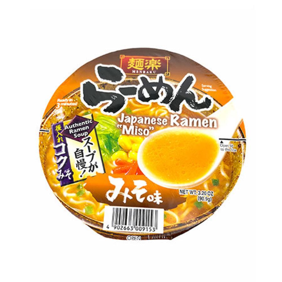 EX Menraku Cup Ramen Miso Aji (Miso Ramen Cup Noodles)-1