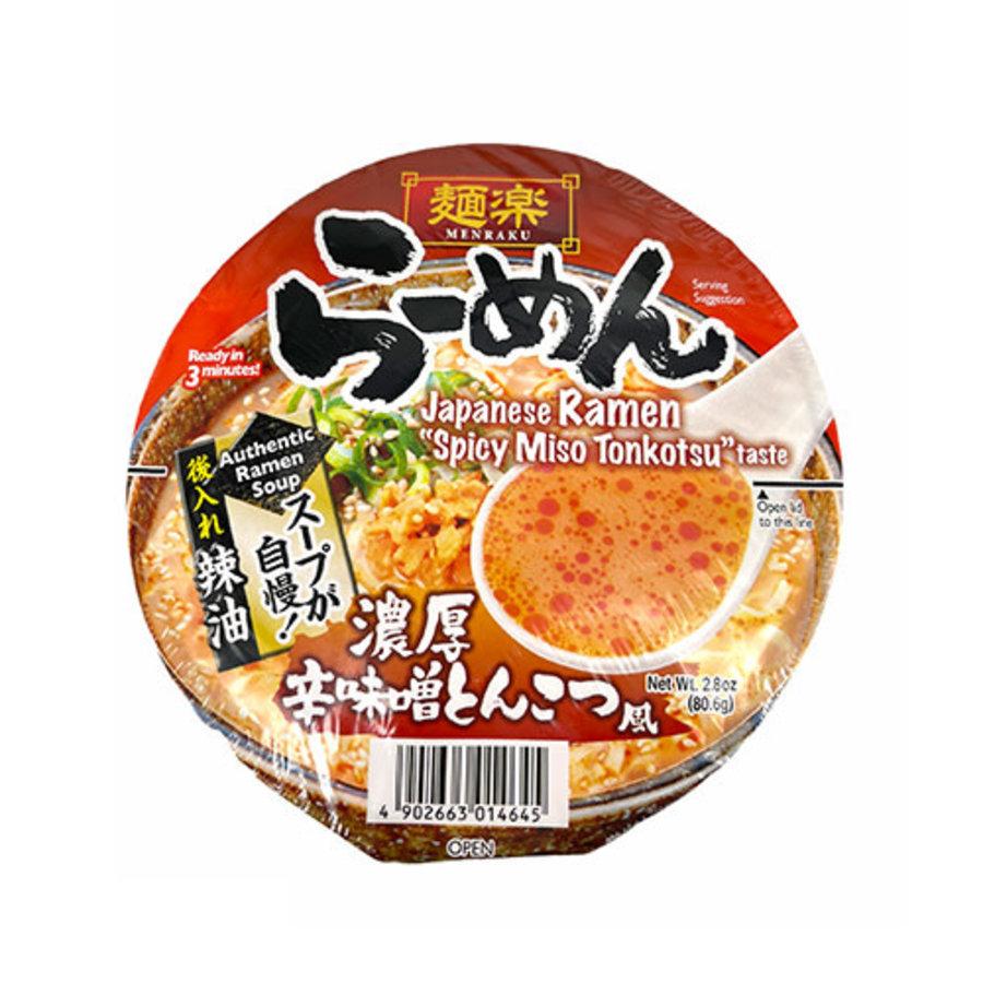 EX Menraku Cup Ramen Karamiso Tonkotsu (Spicy Miso Tonkotsu Style Ramen Cup Noodles)-1