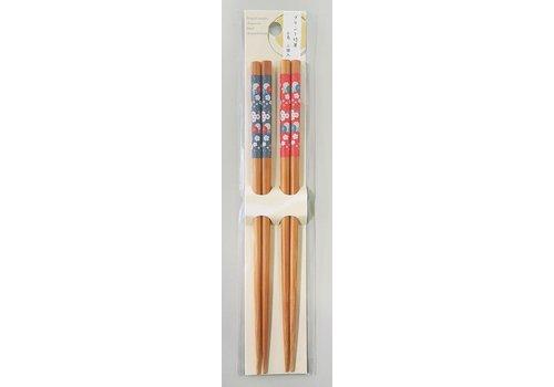 Printed bamboo chopsticks pompom 2P