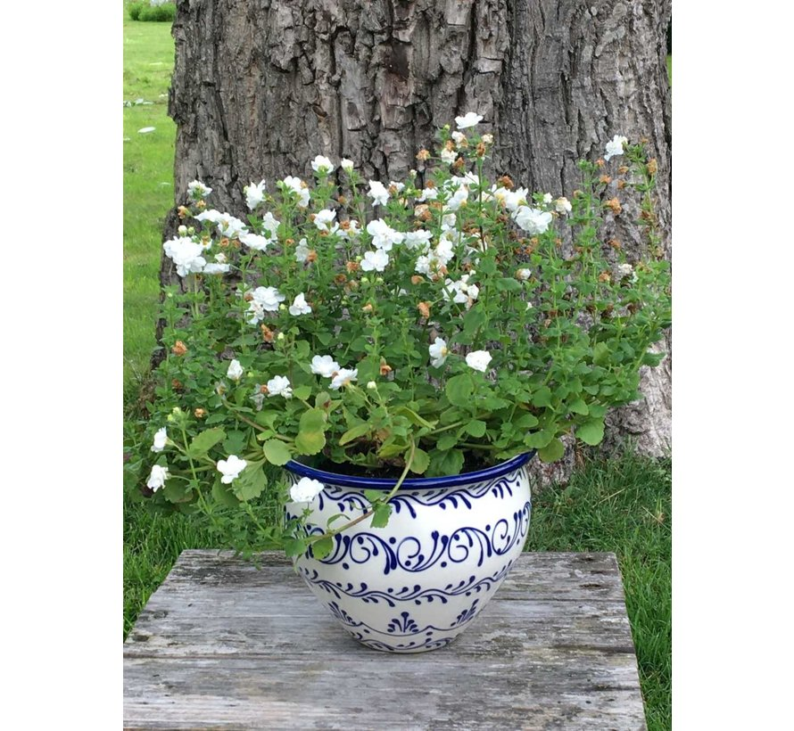 Spaanse Bloempot Blanco Azul