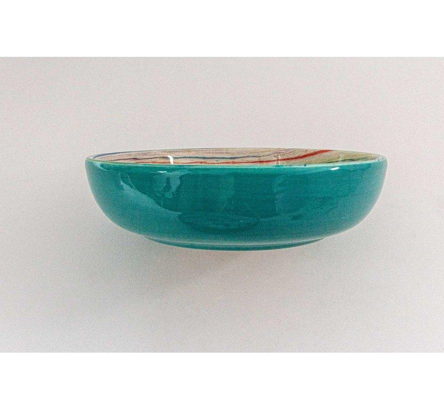 Salad Bowl Ceramic Aguas Turquoise 23 cm