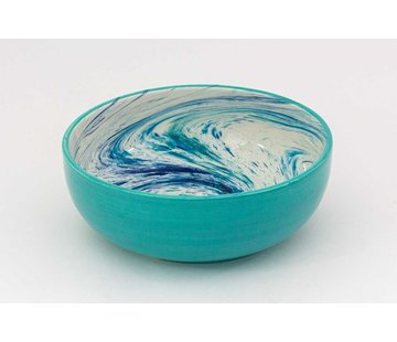 Salad Bowl Ceramic Aguas Turquoise 24 cm