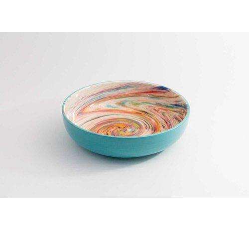 Salad Bowl Ceramic Aguas Turquoise 27 cm