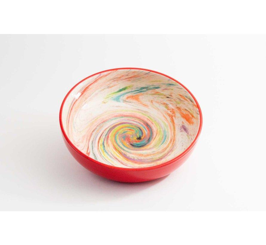 Salad Bowl Ceramic Aguas Red 27 cm