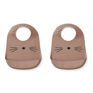 Liewood Liewood slab silicone  Tilda | 2 pack Cat | Dark Rose