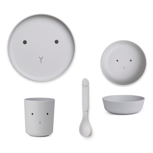 Liewood Liewood servies Bamboe set | Rabbit Dumbo Grey