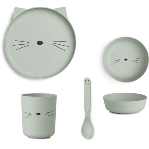 Liewood Liewood servies Bamboe set | Cat Dusty Mint