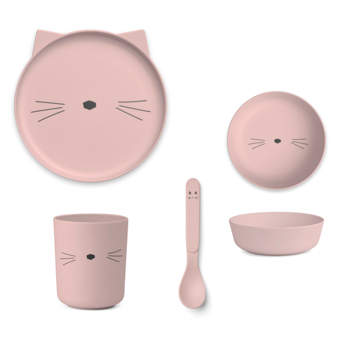 Liewood Liewood servies Bamboe set | Cat Rose