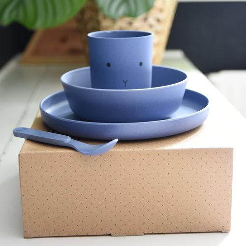 Liewood Liewood servies Bamboe set | Rabbit Blue Wave