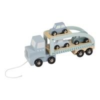 Little Dutch | Houten autotransporter blauw