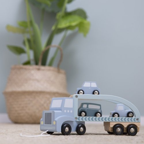 Little Dutch Little Dutch | Houten autotransporter blauw