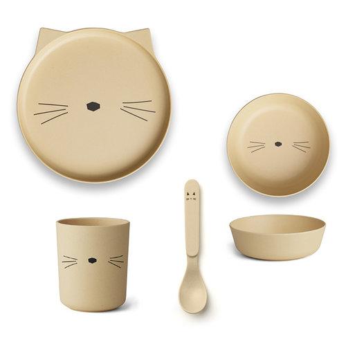 Liewood Liewood servies Bamboe set | Cat Smoothie Yellow
