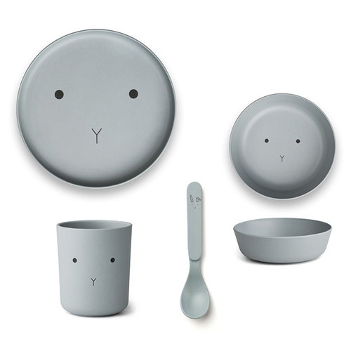 Liewood Liewood servies Bamboe set | Rabbit Sea Blue