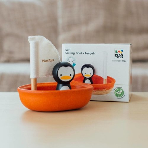 Plan Toys Plan Toys badspeelgoed | Zeilboot Pinguin
