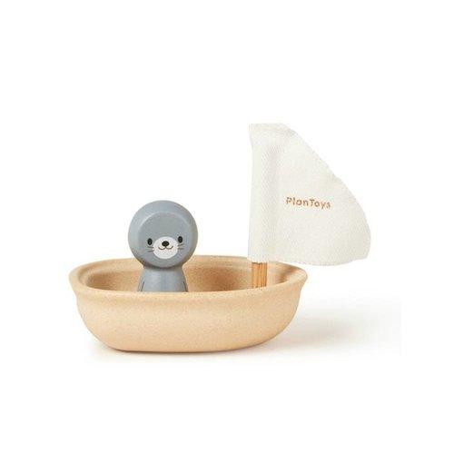 Plan Toys Plan Toys badspeelgoed | Zeilboot Zeehond