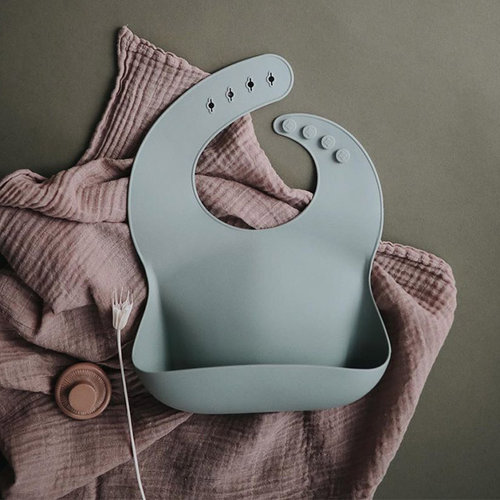 Mushie Mushie Siliconen Bib Slabbetje | Cambridge Blue