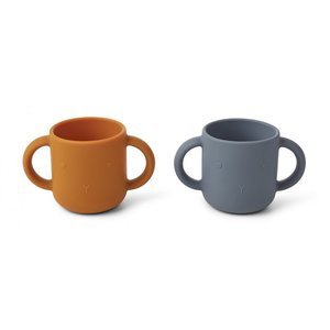 Liewood Liewood Gene silicone cup - 2 pack | Rabbit Blue Wave