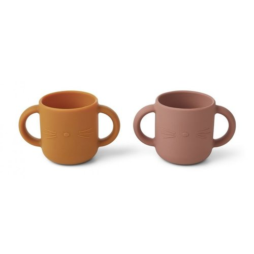 Liewood Liewood Gene silicone cup - 2 pack | Cat dark rose