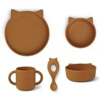 Liewood Vivi babyservies set siliconen | Cat Mustard