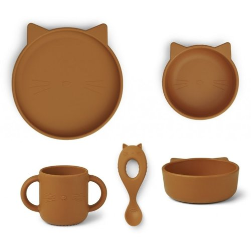 Liewood Liewood Vivi babyservies  set siliconen | Cat Mustard