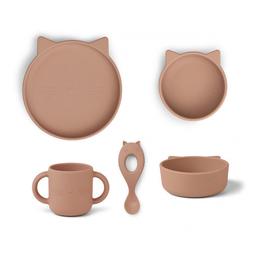 Liewood Liewood Vivi babyservies set siliconen | Cat Dark Rose