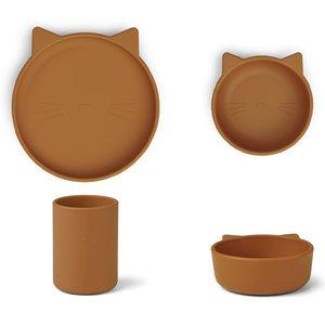 Liewood Liewood Cyrus silicone junior set | Cat Mustard