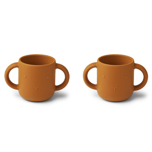 Liewood Liewood Gene silicone cup - 2 pack | Oefenbekers | Rabbit Mustard