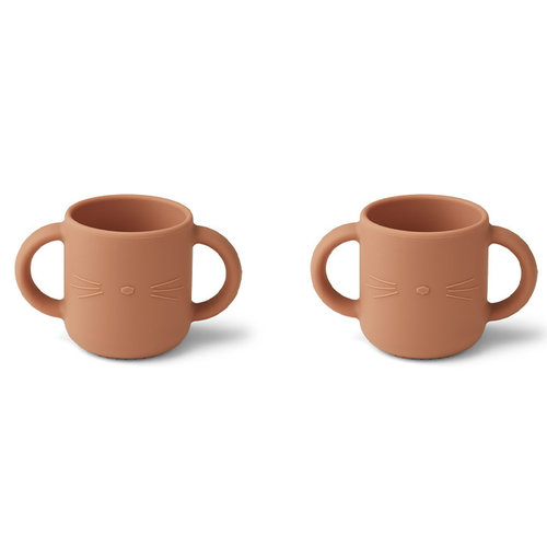Liewood Liewood Gene silicone cup - 2 pack | Oefenbekers | Cat Tuscany Rose
