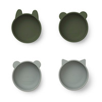 Liewood bakjes Iggy silicone bowl | Hunter Green mix  (set van 4)