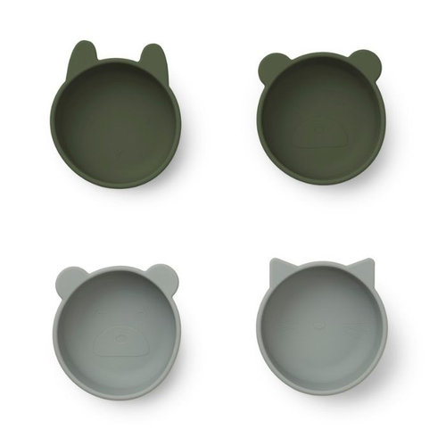 Liewood Liewood bakjes Iggy silicone bowl | Hunter Green mix  (set van 4)