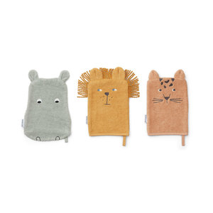 Liewood Washandjes Sylvester | 3 pack Safari Mix