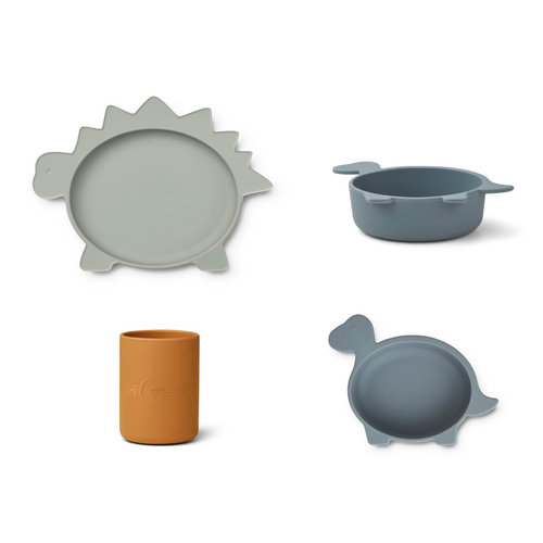 Liewood Liewood Cyrus silicone kinderservies junior set | Dino Blue Mix