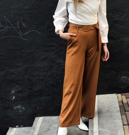 Make My Day Wide Leg Pants Belt Camel