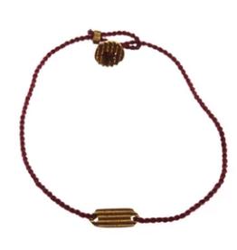 Xzota Bracelet Woven Rectangle Silver/Red