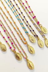 2 The Moon 'n Back 2 The Moon 'n Back Necklace Golden Mary Coin - Purple