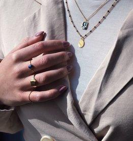 Xzota Signet Square Ring Brass/Silver