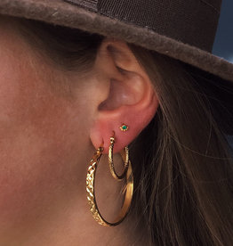 2 The Moon 'n Back Earring Textured Hoops Gold