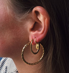 2 The Moon 'n Back Earring Twisted Hoops (40 mm) Gold