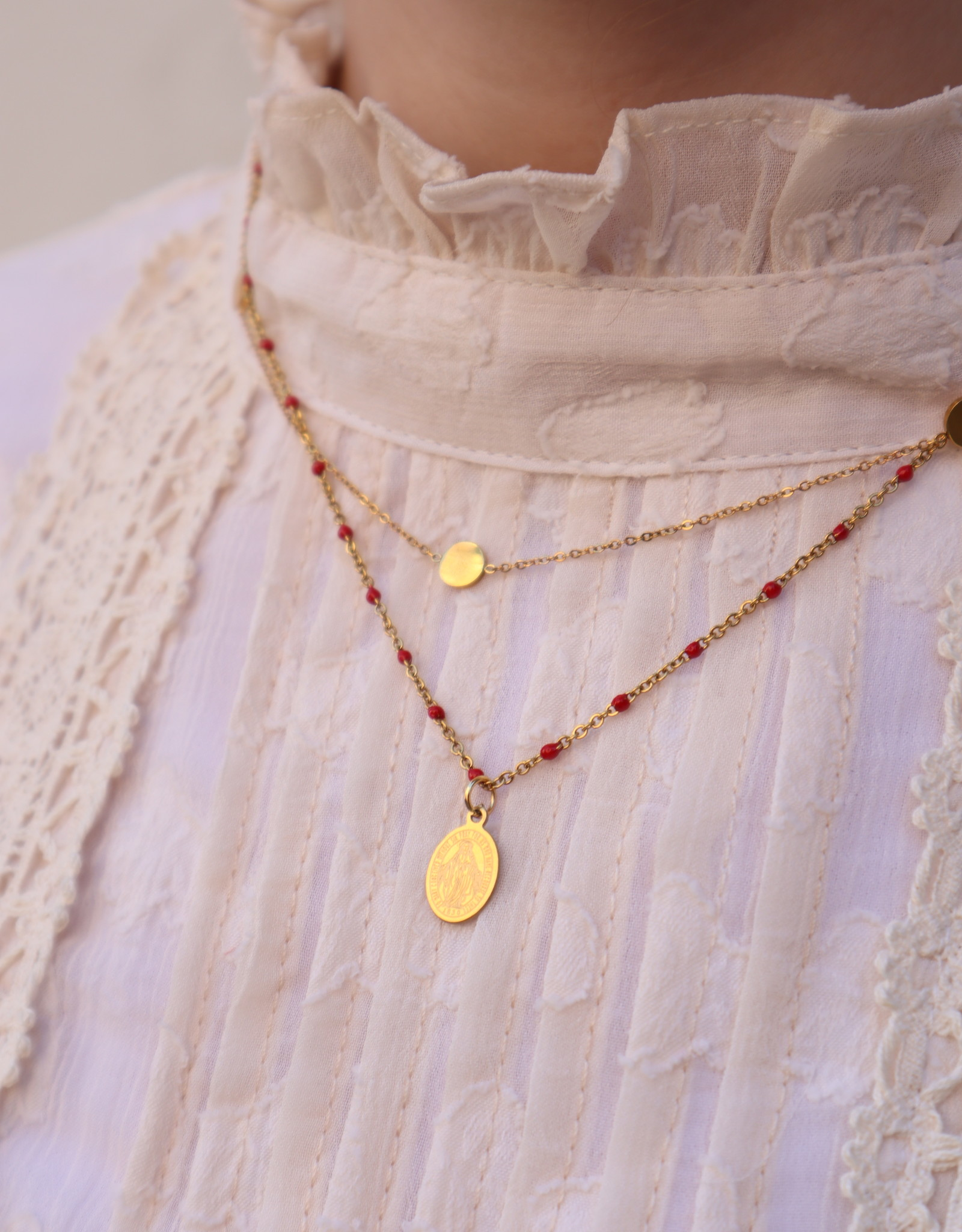2 The Moon 'n Back 2 The Moon 'n Back Necklace Golden Mary Coin - Red