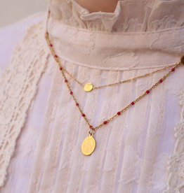 2 The Moon 'n Back Necklace Golden Mary Coin - Red