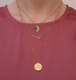 2 The Moon 'n Back Necklace Blue Good Luck Gold