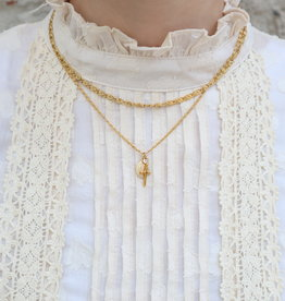2 The Moon 'n Back Necklace Virgin Mary & Cross Gold