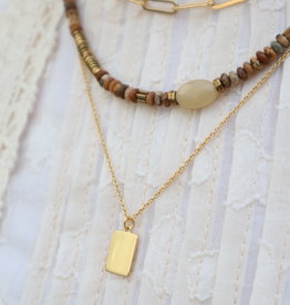 All the Luck in the World Necklace Charm Rectangle Gold