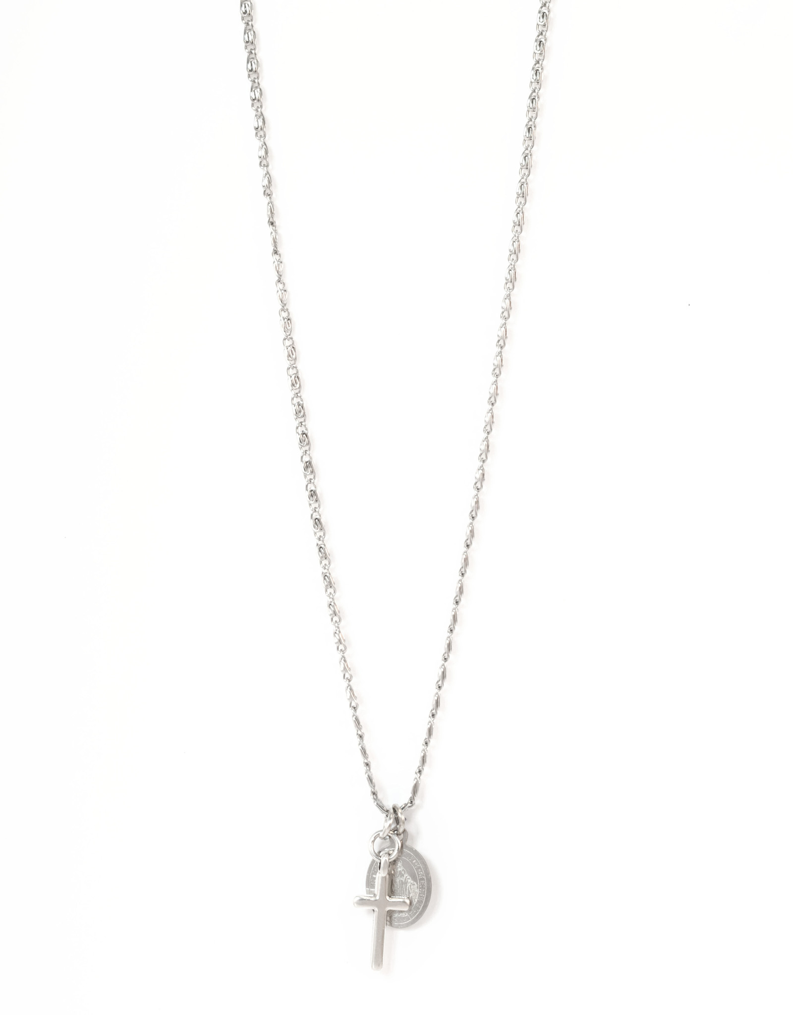2 The Moon 'n Back 2 The Moon 'n Back Necklace Virgin Mary & Cross Silver