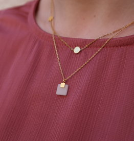 All the Luck in the World Necklace Galaxy Pastel New Jade Square Gold