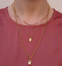2 The Moon 'n Back Necklace Big Chain Lock Gold