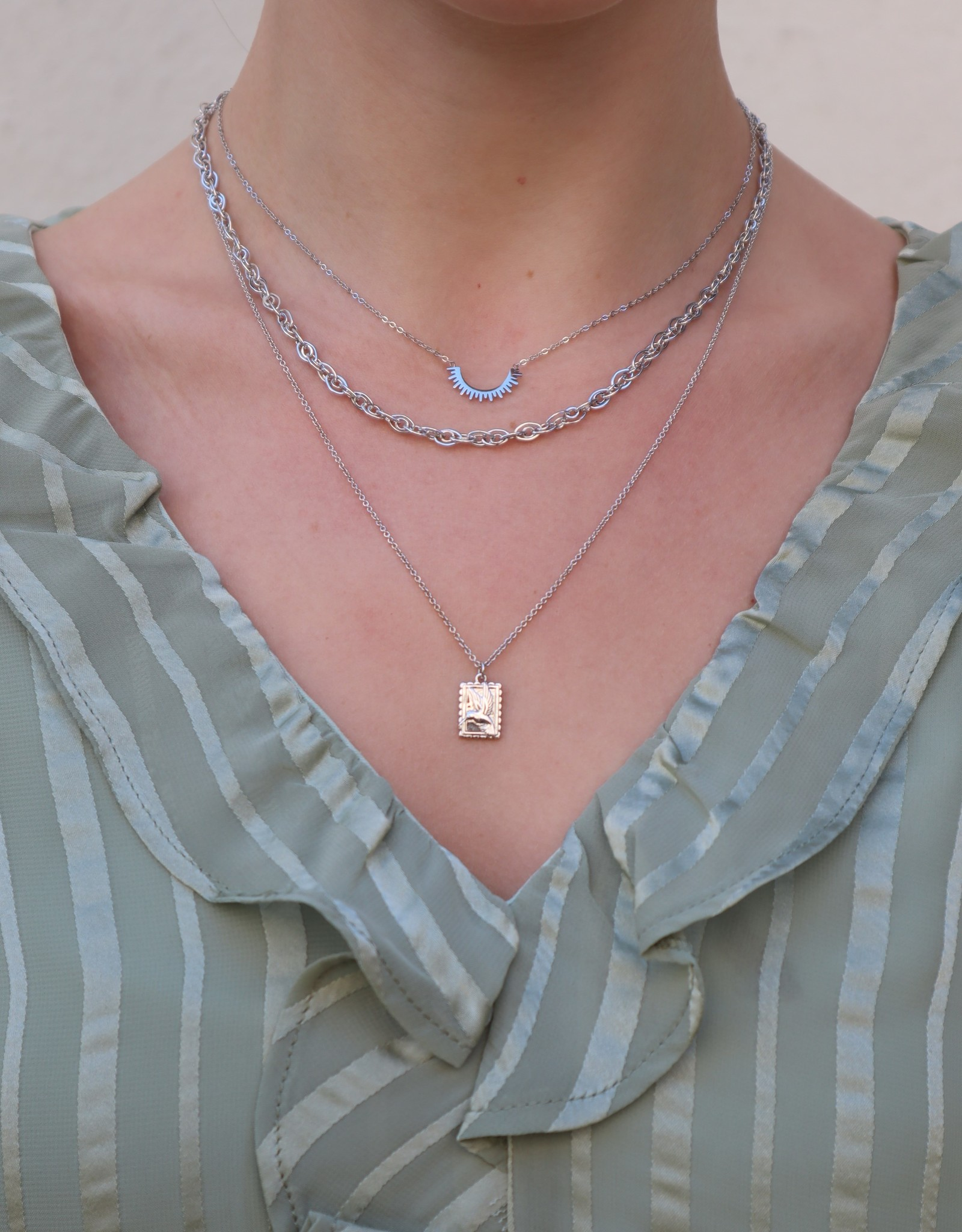All the Luck in the World All the Luck in the World Necklace Charm Hummingbird Rectangle Silver